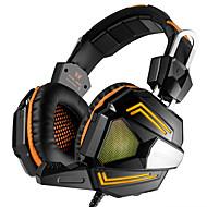 PC stereo gaming headset med mikrofon over-ear passform bass hodetelefoner komfortabelt hodebånd med lydisolasjon og pust ledd lys for pc