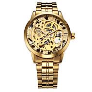 WINNER Męskie Zegarek na nadgarstek zegarek mechaniczny Grawerowane Nakręcanie automatyczne Stal nierdzewna Pasmo Ekskluzywne Złoty