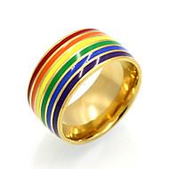 女性用 カップル用 バンドリング ステートメントリング 指輪 サークル ユニーク 幾何学形 ダブルレイヤー ファッション ビンテージ あり Rock 欧米の 虹色 チタン鋼 18K 金 円形 幾何学形 先細り形 ジュエリー のために結婚式 パーティー Halloween
