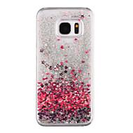 Samsung Galaxy S8 ja s8 puhelimen tapauksessa sydän kuvio virtaava juoksuhiekkaa neste kimallus muovi pc materia s7 reuna s7