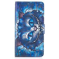 Etui til Samsung Galaxy Note 5 Case Cover det blå kat mønster pu læder tasker