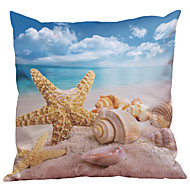 Set of 4  Mediterranean Shell Pattern Rayon Material Looks Like Silk Feeling Square Throw Pillow Cases Sofa Cushion Cover (18*18inch)