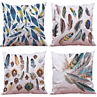Set of 7 Feather Pattern Polyester Imitation Silk  Cushion Cover Home Office Sofa Square  Pillow Case Decorative Cushion Covers Pillowcase