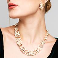 Dames Sieraden Set Druppel oorbellen Parelketting Modieus Europees Bruids Elegant Kostuum juwelen Parel Strass Legering Cirkelvorm