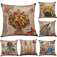 Set of 6 Retro Birds and Flowers  Pattern Linen Pillowcase Sofa Home Decor Cushion Cover  Throw Pillow Case (18*18inch)