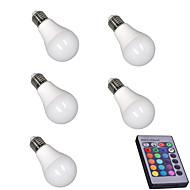 5W Okos LED izzók A60(A19) 15 SMD 5050 400 lm RGB Érzékelő Infravörös érzékelő Tompítható Távvezérlésű Dekoratív AC 85-265 V 5 db.