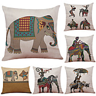 Set of 6 Thai Elephant  Pattern Linen Pillowcase Sofa Home Decor Cushion Cover  Throw Pillow Case (18*18inch)