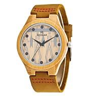 男性用 ファッションウォッチ 腕時計 ウッド 日本産 クォーツ 木製 PU 本革 バンド チャーム エレガント腕時計 カーキ