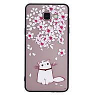 Για το γαλαξία της Samsung a5 (2017) a3 (2017) θήκη τηλεφώνου combo λουλούδι γάτα μοτίβο ζωγραφισμένο βερνίκι ανάγλυφο θάλαμο τηλέφωνο