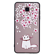 Til samsung galaxy a5 (2017) a3 (2017) telefoncase combo blomst kat mønster malet lak præget skrubbe telefon etui a5 (2016) a3 (2016)