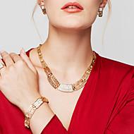 Női Ékszer készlet Nyilatkozat nyakláncok Karkötő Fülbevaló Gyűrű Ékszerek Arannyal bevont 18K arany Divat Méretes ékszerek Aranyozott
