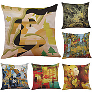 Set of 6 Oil Painting Abstract  Pattern Linen Pillowcase Sofa Home Decor Cushion Cover  Throw Pillow Case (18*18inch)