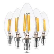 4W LED-stearinlyspærer C35 4 COB 300-400 lm Varm hvid Dæmpbar Dekorativ Vekselstrøm 110-130 110 V 5 stk.