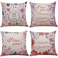 Set of 4 Hand-Painted Roses Linen Cushion Cover Home Office Sofa Square Pillow Case Decorative Cushion Covers Pillowcases Without Insert(18*18Inch)
