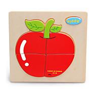 Puzzle Drewniane puzzle Cegiełki DIY Zabawki Kot Apple Wiśniowy Kreskówka Other friut