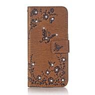 Kotelon kannen kortin haltija lompakko tekojalokivi stand flip kohokuvioitu koko kehon tapauksessa perhonen kukka kova pu nahka samsung s8
