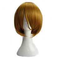 Naisten Synteettiset peruukit Suojuksettomat Lyhyt Suora Vaaleahiuksisuus Bob-leikkaus Cosplay-peruukki puku Peruukit