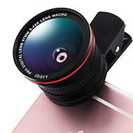 Lieqi lq-026 telefoon lens 0.42x vis-oog lens 10x macro aluminium clip-on mobiele telefoon camera lenzen kit voor Samsung Android