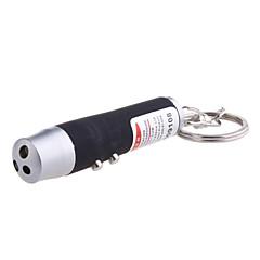 3-en-1 laser rouge + blanc + lumière UV lumière conduit lampe de poche porte-clés (3 * LR44 couleurs assorties)