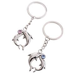rostfritt älskare nyckelringar (delfiner / 2-delat set)