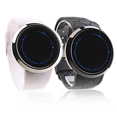 Touch Screen Creative Blue LED Silicone Band Wristband Watch for Love Couple
