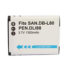 Câmera bateria 1300mAh d-li88/db-l80 para Pentax Optio P70