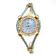Damen Modeuhr Armbanduhr Armband-Uhr Quartz Legierung Band Blau Gold Marke