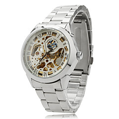 Unisex Auto-Mechanical Hollow Dial Silver Steel Band Analog Wrist Watch (Assorted Colors) Cool Watch Unique Watch