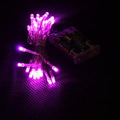 3m 30-ledede pink lys 2-mode LEDstring fairy lampe til jul (3xAA)