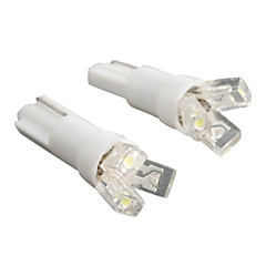 T5 3-LED 20MA 0.24W 12V White Light Car Bulb-Pair