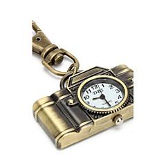 retro camera van unisex legering analoge quartz horloge sleutelhanger (brons)