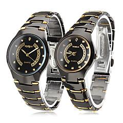 dwoje na czarno-złote aluminiowe kwarcowe zegarki analogowe (1-pair)