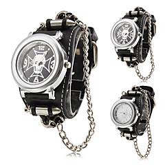 reloj de cuarzo de la venda de la PU negro modelo del cráneo punky del estilo de los hombres (colores surtidos)