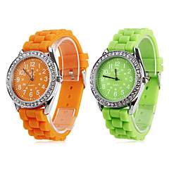 Women's Quartz Analog Diamond Case Silicone Band Wrist Watch (Assorted Colors)