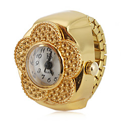 Women's Flower Style Alloy Analog Quartz Ring Watch (Gold)