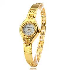 Frauen-modischen Stil Legierung Analog Quarz Armbanduhr (gold)