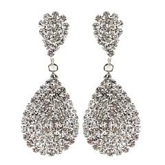 Drop Earrings Rhinestone Bridal Elegant Luxury Rhinestone Silver Plated Drop Teardrop White Jewelry ForWedding Party Anniversary Gift