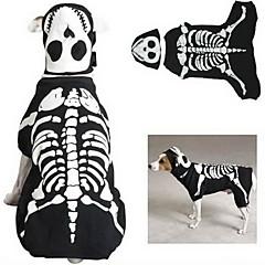 סרבל pethingtm [xmassale] סגנון עצם כלבי noctilucent עם רטייה לכלבים (שחור, XS-XL)