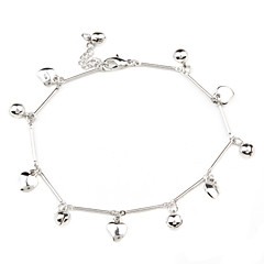 Cute Heart with Tinkle Bell Sliver Plated Anklet
