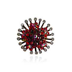 Korean Sweet  Crystal Five-Pointed Star Flower Alloy Ring