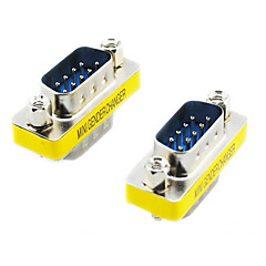 20564 Serial RS232 DB9 9-Pin Male to Male Adapters (Silver & Yellow, 2 PCS)