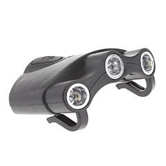 Plastica nera ultraleggera tre fari a LED per la pesca notturna / escursionismo / campeggio / caccia / Bicicletta