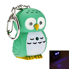 Owl Style Light and Sound Effect Keychain (Random Color)