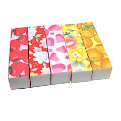 1PCS Emery Nail File Cuboid Flower Color(Random Color)