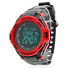 Men's Air Pressure Multi-Functional Red Case Black Rubber Band Digital Wrist Watch Cool Watch Unique Watch