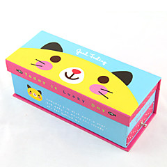 Cartoon Double-deck Paper Pencil Case(Random Colors)