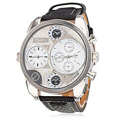 Heren Militair horloge Japanse quartz Dubbele tijdzones PU Band Zwart Merk- Oulm