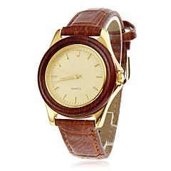 caisse en bois cadran en or élégant de brun des femmes PU bande de montre-bracelet à quartz