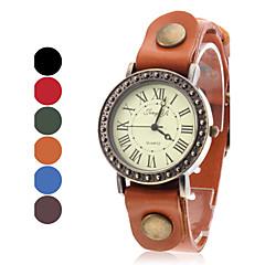 caisse de cru de montre-bracelet de bande de cuir de quartz de femmes (couleurs assorties)
