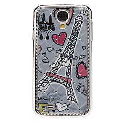 Heart and Tower Pattern Hard Case with Rhinestone for Samsung Galaxy S4 I9500